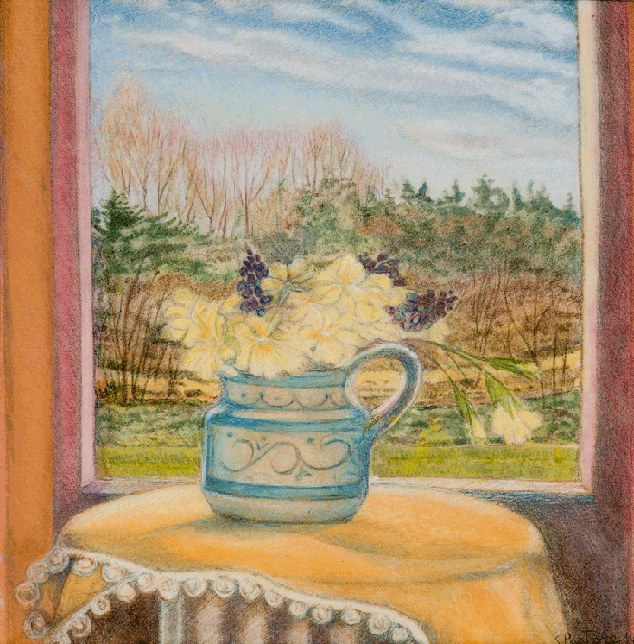 Primroses by the window