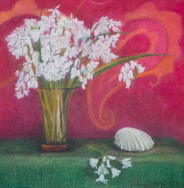 Still-life in green, red and white